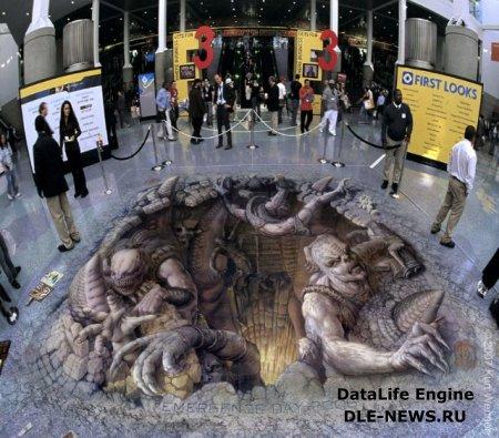 3D  рисунки на асфальте