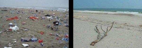 Пляж в Нью Джерси до и после урагана Айрин